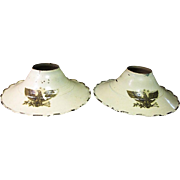 1930's, Pair of Cream Enamel Industrial Metal Light Sconce / Reflector with American Eagle