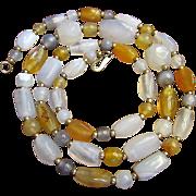 """Beautiful Vintage Polished Agate Gemstone 30"""" Necklace"""