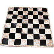 Vintage Marble Chess or Checkers Board, 14""