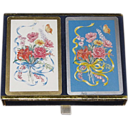 Vintage Congress, 2 Decks of Playing Cards with Bouquet of Flowers, Ribbon, Butterfly & Storage Box