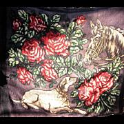 Stunning Horse & Hound Buggy Blanket, Horse Has Glass Eye!