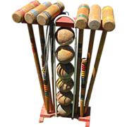 Nice Vintage Wooden Croquet Set for 6 with Stand
