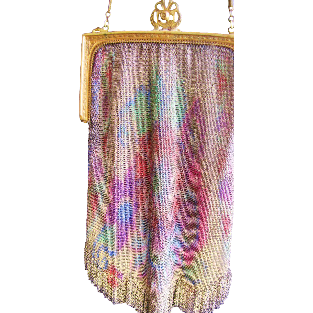 Finest 1920's Dresden Rainbow Mesh Evening Bag