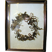 Victorian Hair Mourning Wreath in Walnut Shadow Box Frame