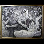 """Antique French Jacquard Stevengraph Woven Silk Picture Of """"Le Fil De La Vierge"""", Original Frame"""
