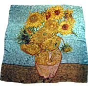 "Large 36"" Silk Satin Van Gogh Sunflower Design Austrian Pure Silk Scarf or Shawl"