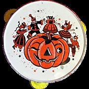 Vintage Tin Litho Tambourine Noisemaker for Halloween Display