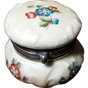 """Tiny 2 1/4"""" Antique Wavecrest Floral Enamel Decorated Ladies Dresser Box, Sweet Form!"""