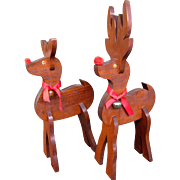 Whimsical Pair of Vintage Hand Made Wooden Reindeer, Pack to Flat for Storage