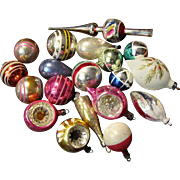 18 Vintage Hand Blown Tree Ornaments, Intents, Mica's, Plus Topper!