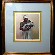 Nicely Framed Original Elizabeth O'Neill Verner Signed Print, Blue Baby