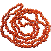 """Lovely Vintage 37"""" Japanese Tomato Red Glass Coral Bead Necklace"""