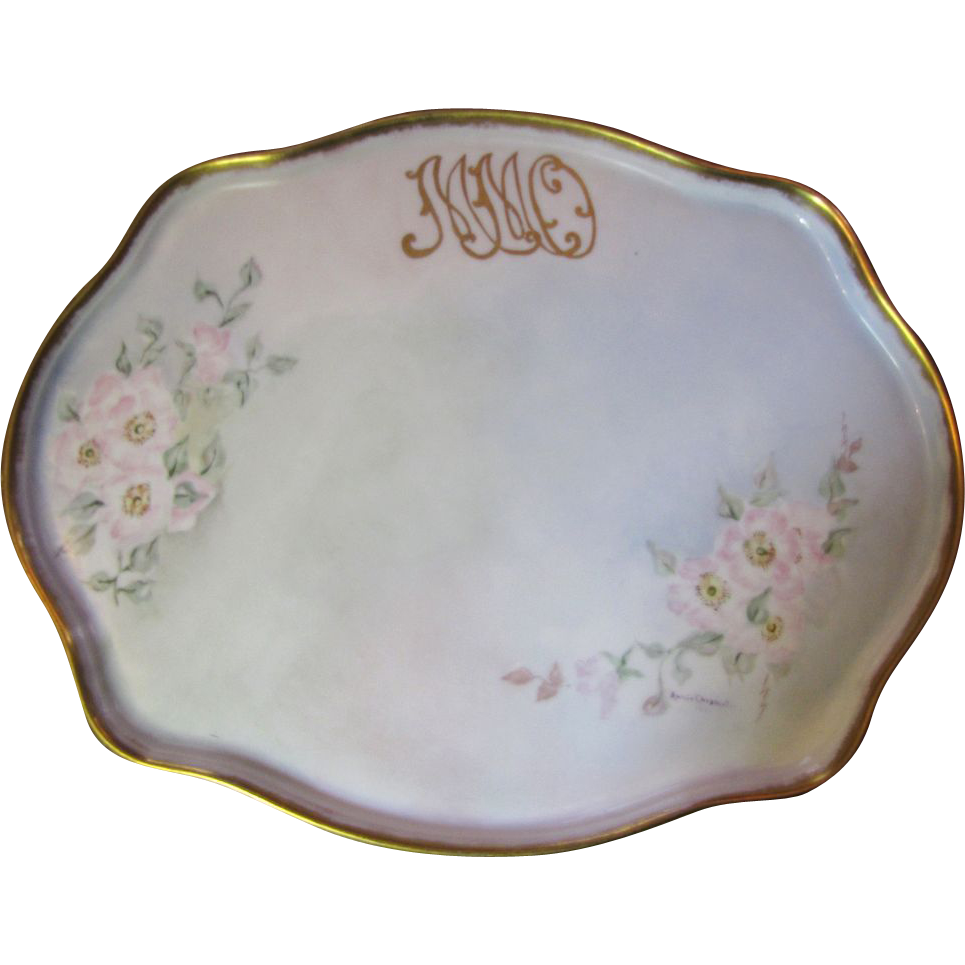"""Large 16"""" Hand Painted Floral Porcelain Vanity Tray Dated 1914"""
