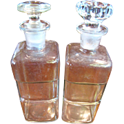 "Nice Pair of 7 1/2"" Indented Antique Apothocary Bottles with Ground Glass Stoppers"