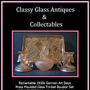 German Art Deco Peach Glass Sonnenfisch pattern Trinket Vanity Set by Walther & Sohne c1930s