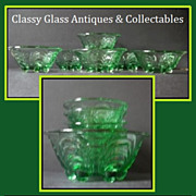 Very Scarce Bohemian Art Deco 7 Piece Emerald Green Glass Sundae Set by S Reich & Co. Circa 1930s
