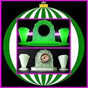 English Art Deco Uranium Glass Clock Garniture with Vases by Bagley