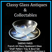 Superb French Opalescent Glass 'Shell' Pattern Bowl & Tray Set by Sabino, Paris. c1930s