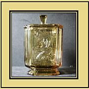 'Pandora's Box ' 1930s English Art Deco Large Amber Glass  Lidded Jar by Sowerby