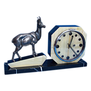 Fabulous 1930s French Art Deco Marble & Onyx Clock with Alpine Ibex Sculpture. Fully Working Clock Movement.
