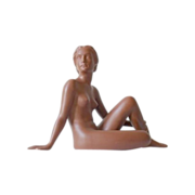 Superb 1930s French Terracotta Nude Lady Sculpture by Ugo Cipriani. 14 x 10 inches