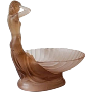 1930s German Art Deco 2 Part Pink Glass Mermaid & Shell Bowl Center Piece by Walther & Sohne