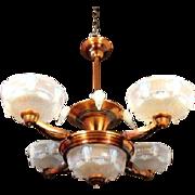 Splendid Original French Art Deco Opalescent Glass Luster & Cascade 5 Light Pendant Chandelier. Fully Signed by EZAN.