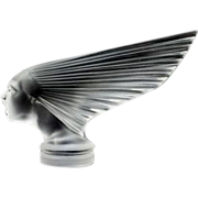 "An Immaculate 'Victoire' Post War Glass Car Mascot ""Spirit of The Wind"" Designed by Rene Lalique, produced by Hoffman."