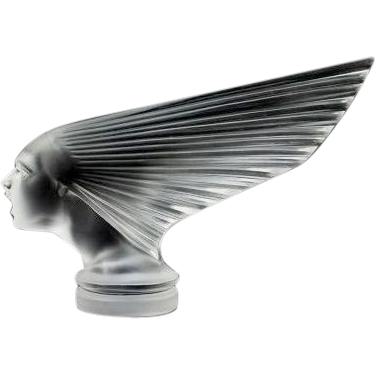 """An Immaculate 'Victoire' Post War Glass Car Mascot """"Spirit of The Wind"""" Designed by Rene Lalique, produced by Hoffman."""