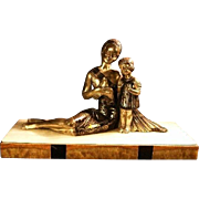Original & Signed French Art Deco silvered & bronzed metal & marble sculpture Mère et fille by Balleste / Molins circa 1925