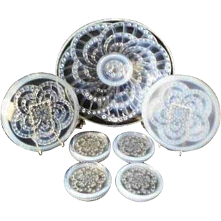 Incredible 7 piece French opalescent glass set, designed by J. LANDIER in the 1920s for Cristallerie Sevres.