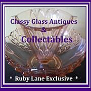 A Beautiful Art Deco Pink Glass Two Piece Companion Vase & Bowl Set by Stolzle