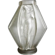 Fabulous 1920s French Art Deco glass vase by Lucille Sevin for Etling
