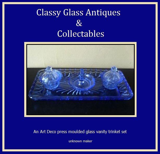 A Charming English Art Deco 1930s  - 1940s Blue Glass Trinket  Vanity Set