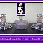 1930's Art Deco SCARCE Amethyst GlassTrinket Set / Vanity Dresser Set by Stolzle