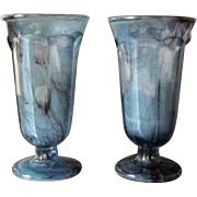 Gorgeous PAIR of George Davidson cloud glass vases circa 1930s