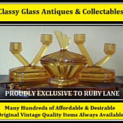 Original 1930s English Art Deco Amber Depression Glass Vanity Trinket Set by Bagley
