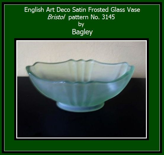 English Satin Frosted Glass Vase by Bagley. Bristol pattern 3145