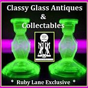 SEVEN PIECE 1930's English Art Deco Vibrant Uranium Green Glass Vanity Set / Trinket Set by Bagley