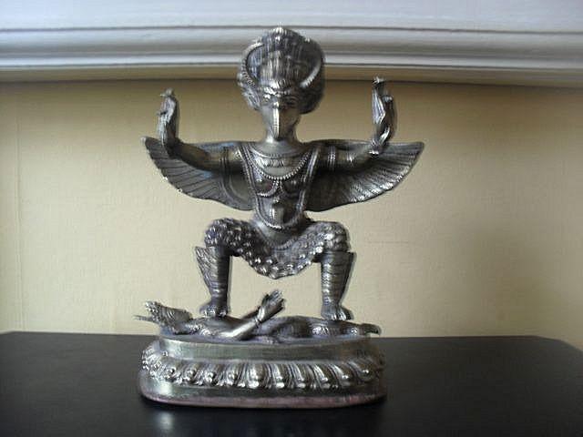 "Outstanding Vintage 10"" 2 Piece Cast Metal Statue of Hindu Deity & Buddhist Garuda"