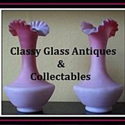 Pair of English Victorian Satin Glass Wild Rose Vases. Circa 1880's by Thomas Webb