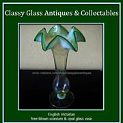English Victorian Uranium Opalescent & Green Glass Vase c1880 - c1910