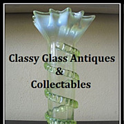 Thomas Webb, English Victorian Uranium Vaseline Glass Vase. MINT!