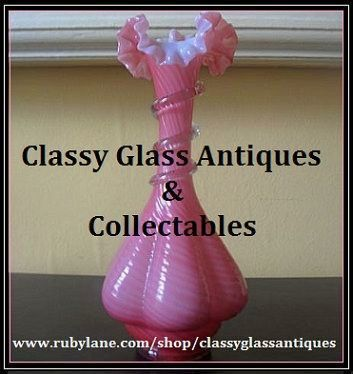 Antique English Victorian Pink-Rib Cane Cased Crystal Class Vase. Stourbridge. c1880's