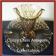 1930s Art Deco Amber Depression Glass Two Part  Vase & Dish Center Piece by Stolzle