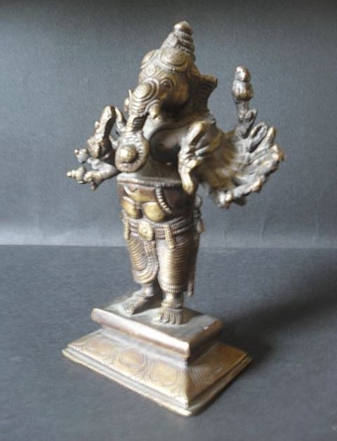 Very Old Hindu Temple Bronze Statue of Lord Ganesha With Sixteen Arms.