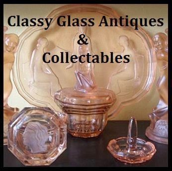 "MASSIVE PRICE REDUCTION - Incredible Art Deco Pink Depression Glass ""Egyptian"" Pattern Vanity Set / Trinket Set. EIGHT PIECES!"