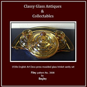 SCARCE 'Filey' Pattern Art Deco GlassTrinket Set by Bagley, England.