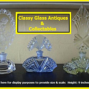 9 inches Tall Cut Yellow Crystal Glass Art Deco Perfume Bottle. Czechoslovakian Original.