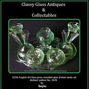 Bagley 1930's Art Deco Green Glass Trinket Set / Vanity Set. Rutland Pattern